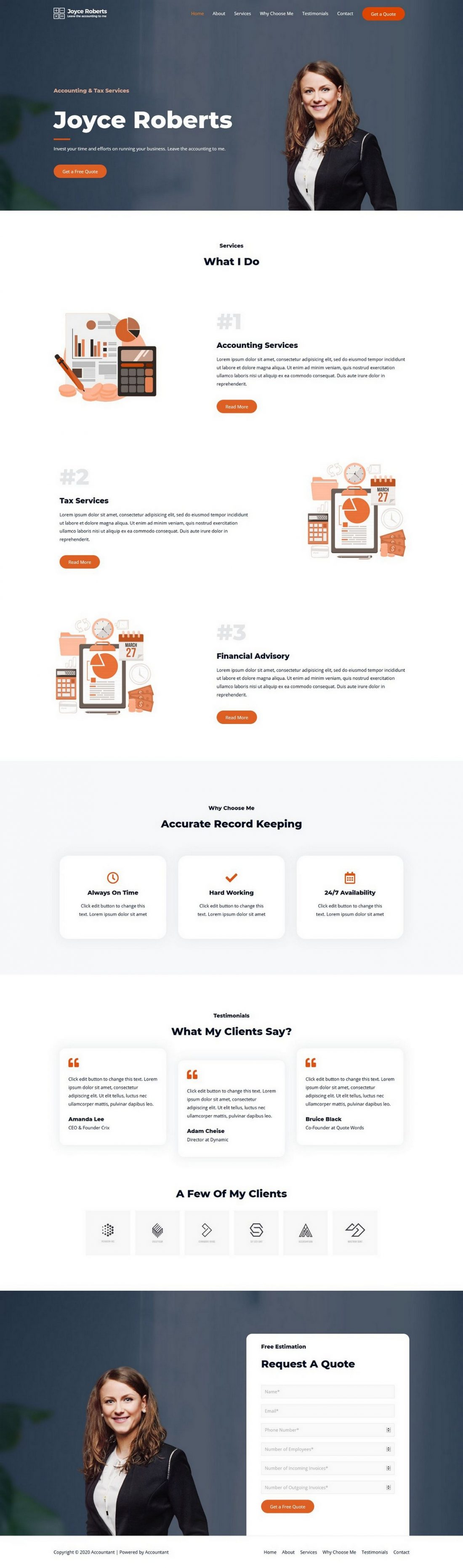 Fagowi.com Website Design Templates For Accountant Book-keeper - Home Page Image