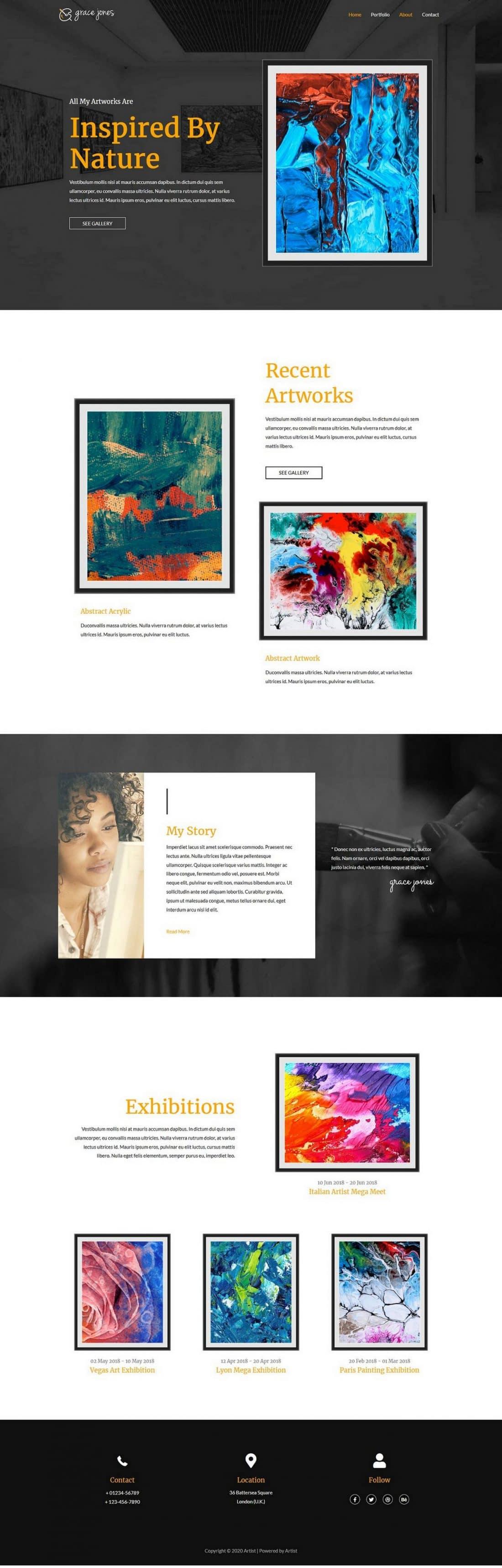 Fagowi.com Website Design Templates For Artist A - Home Page Image
