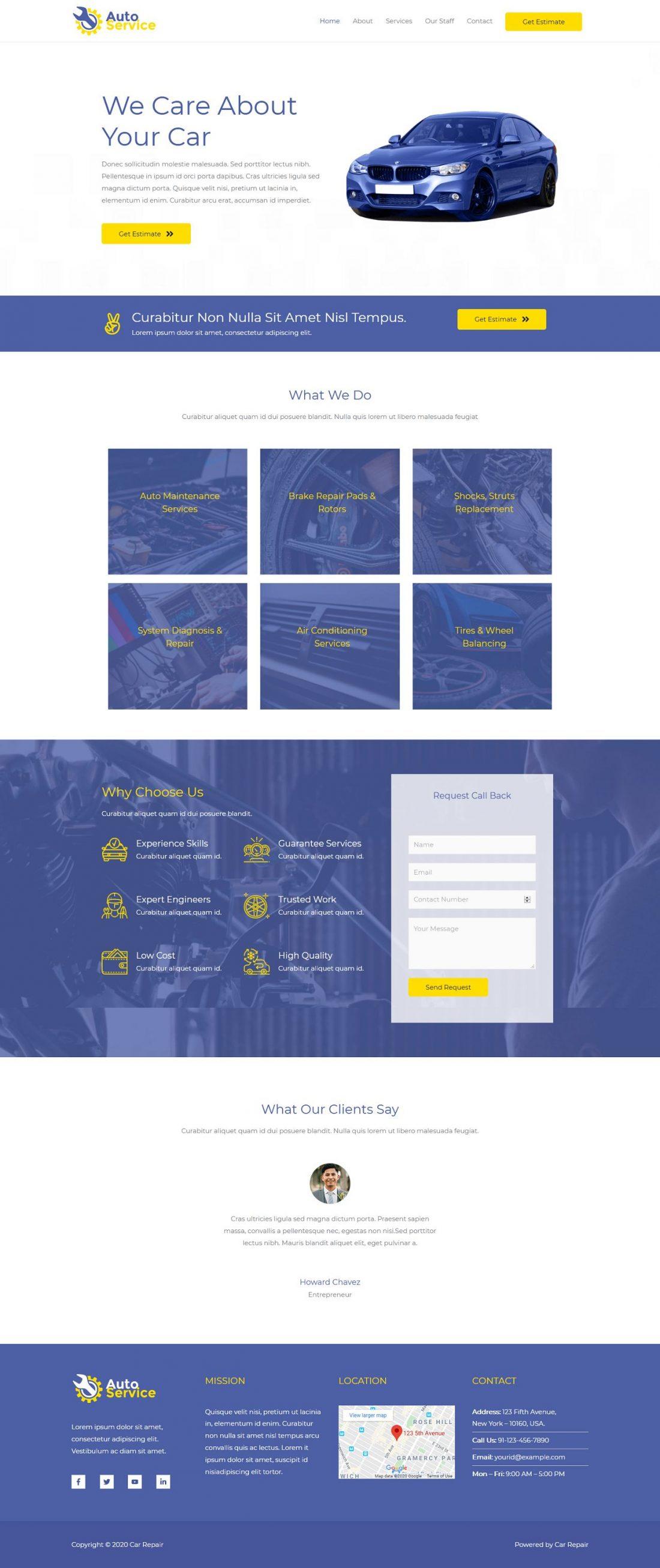 Fagowi.com Website Design Templates For Car and Auto Repair - Home Page Image