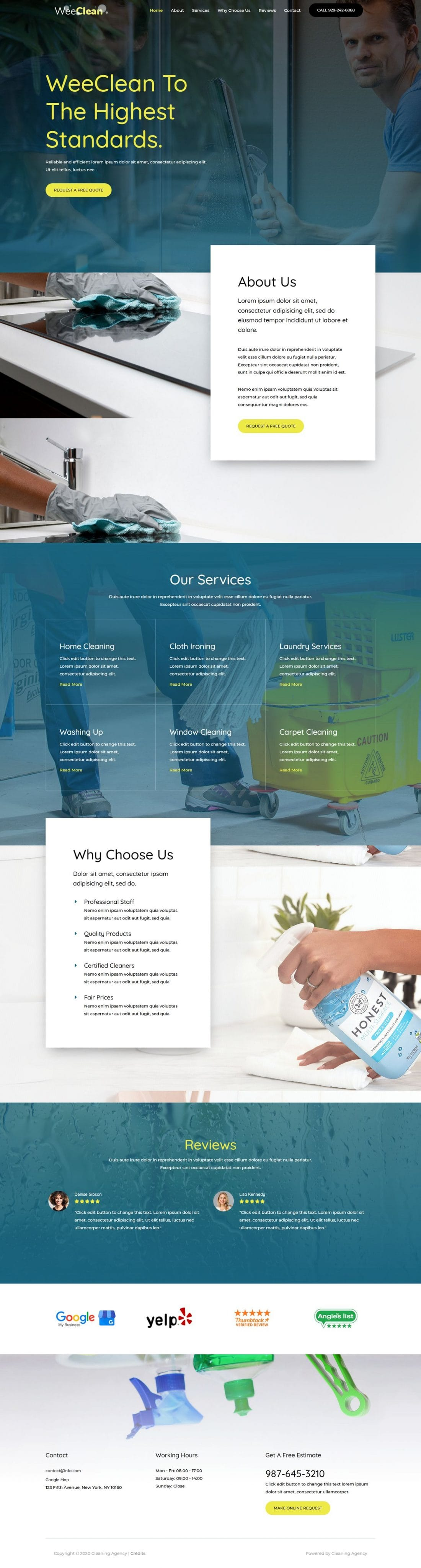 Fagowi.com Website Design Templates For Cleaning Services Agency - Home Page Image