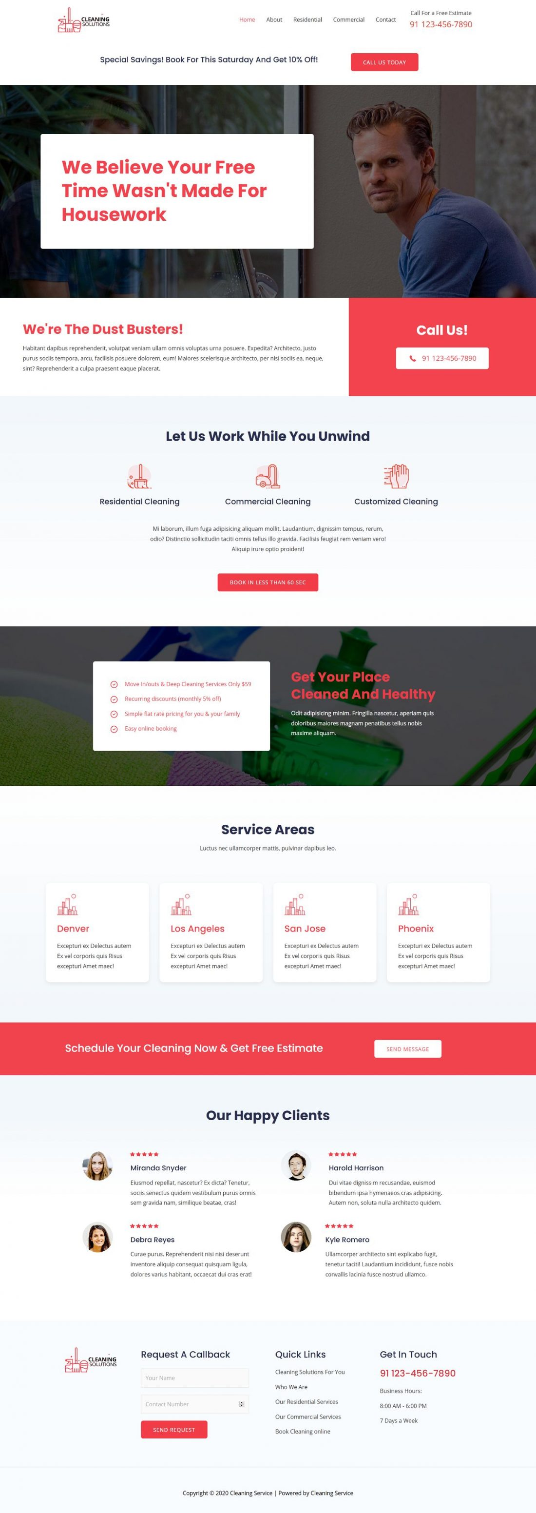 Fagowi.com Website Design Templates For Cleaning Service Residential and Commercial - Home Page Image