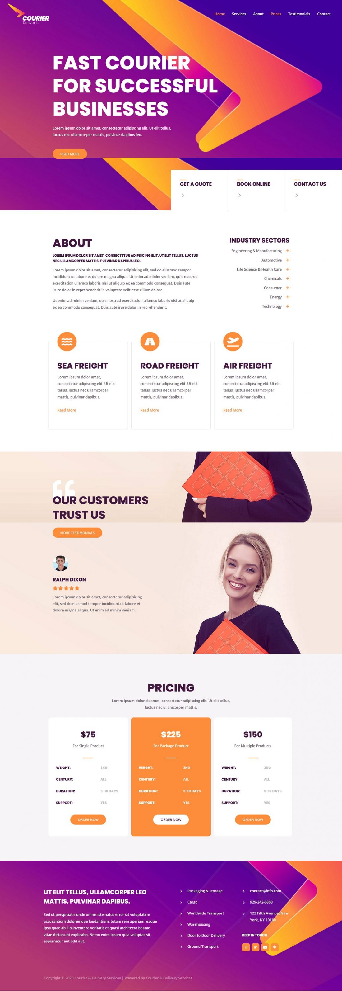 Fagowi.com Website Design Templates For Courier and Delivery Service - Home Page Image