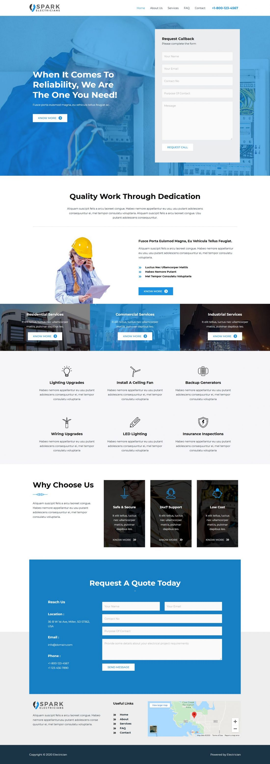 Fagowi.com Website Design Templates For Electrician - Home Page Image