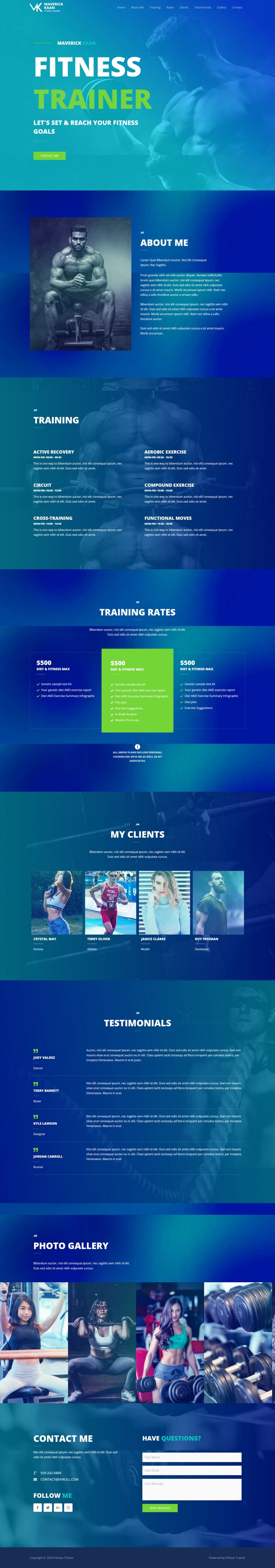 Fagowi.com Website Design Templates For Fitness Trainer Male - Home Page Image