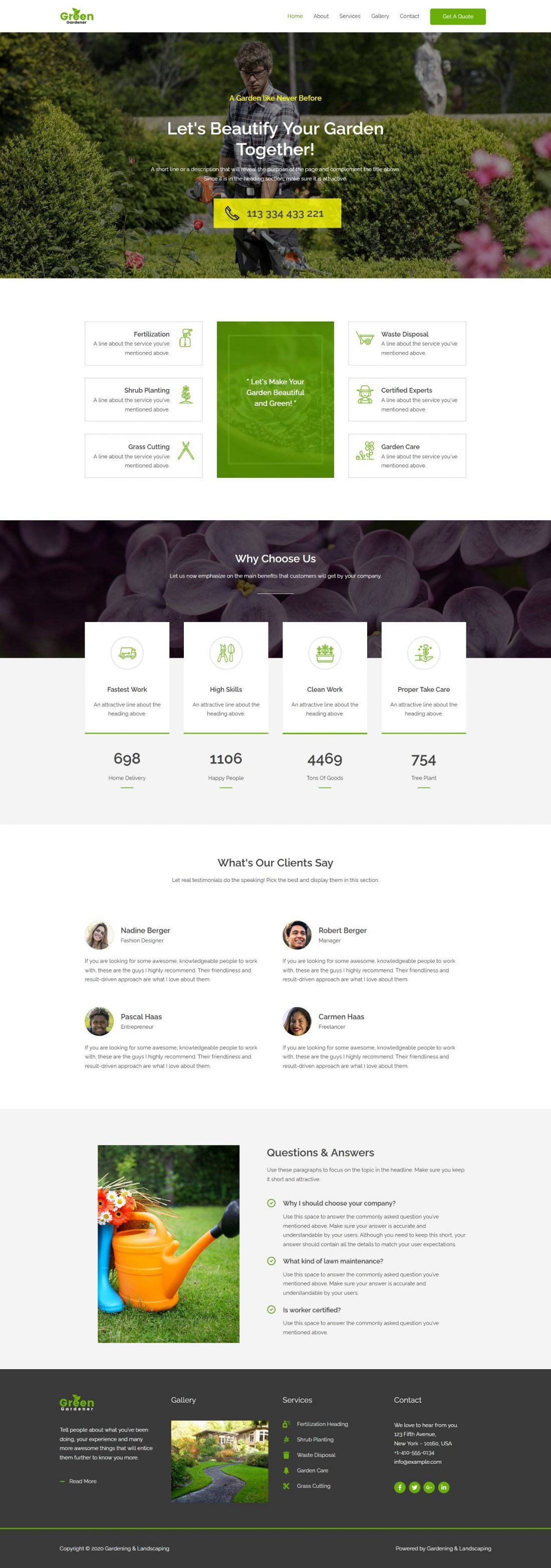 Fagowi.com Website Design Templates For Gardening and Landscaping - Home Page Image
