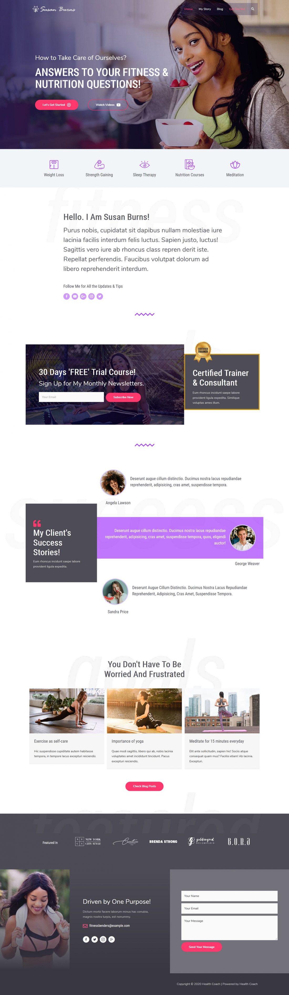 Fagowi.com Website Design Templates For Health Coach Female - Home Page Image