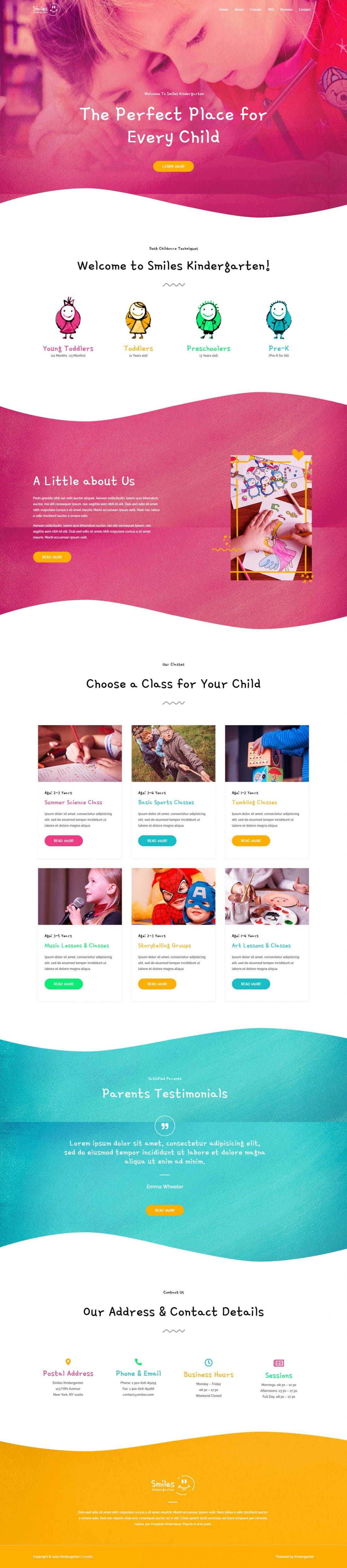 Fagowi.com Website Design Templates For Kindergarten Day Care - Home Page Image
