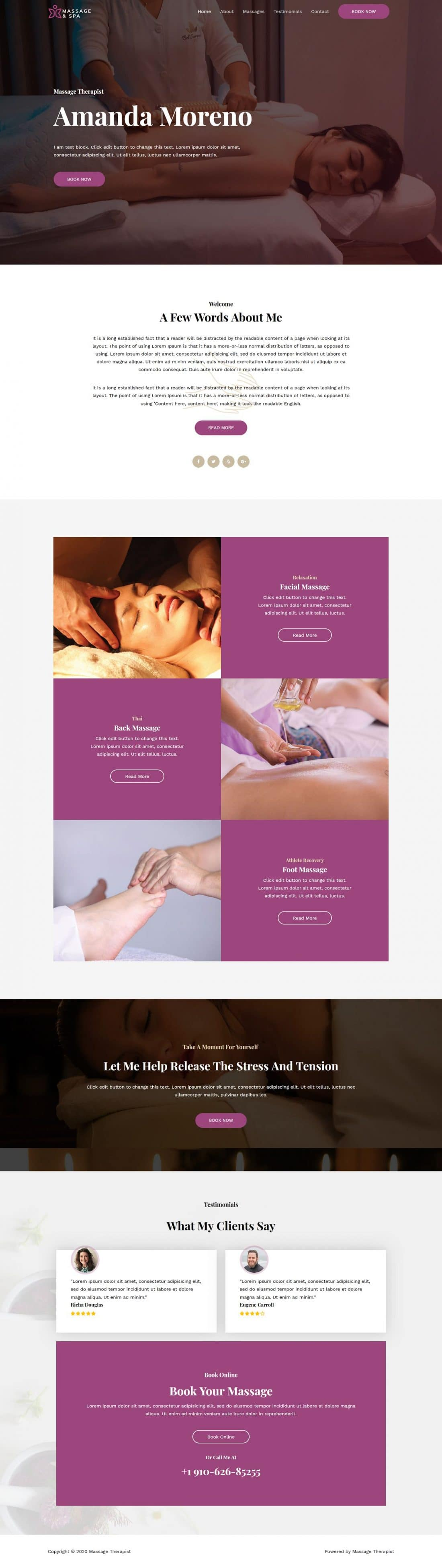 Fagowi.com Website Design Templates For Massage Therapist - Home Page Image