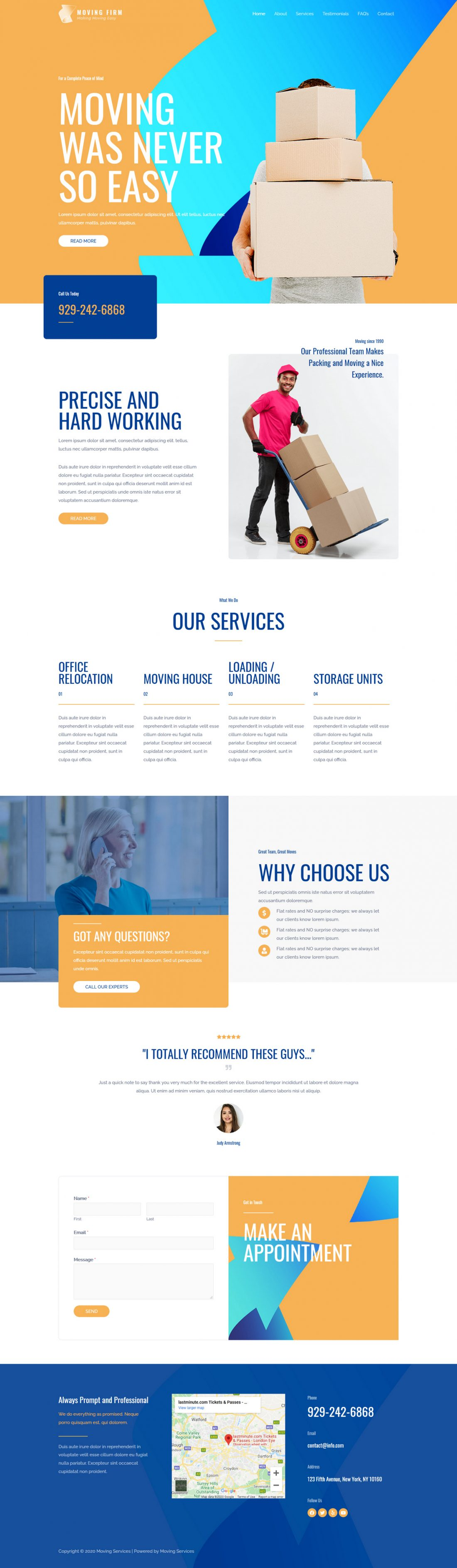 Fagowi.com Website Design Templates For Moving and Home Removals - Home Page Image