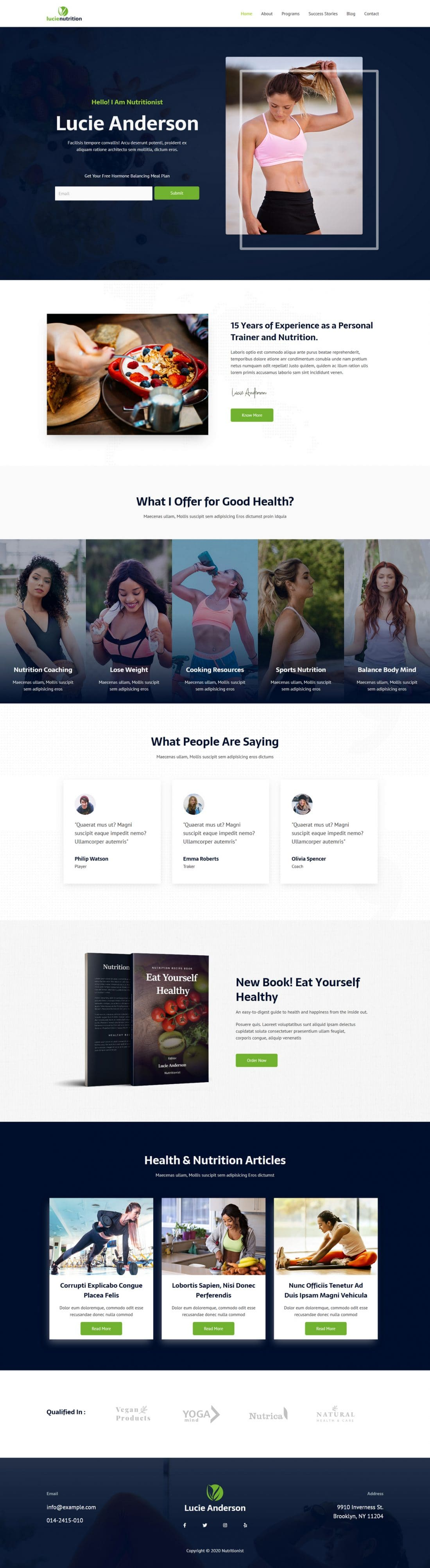 Fagowi.com Website Design Templates For Nutritionist Female Weight Loss - Home Page Image