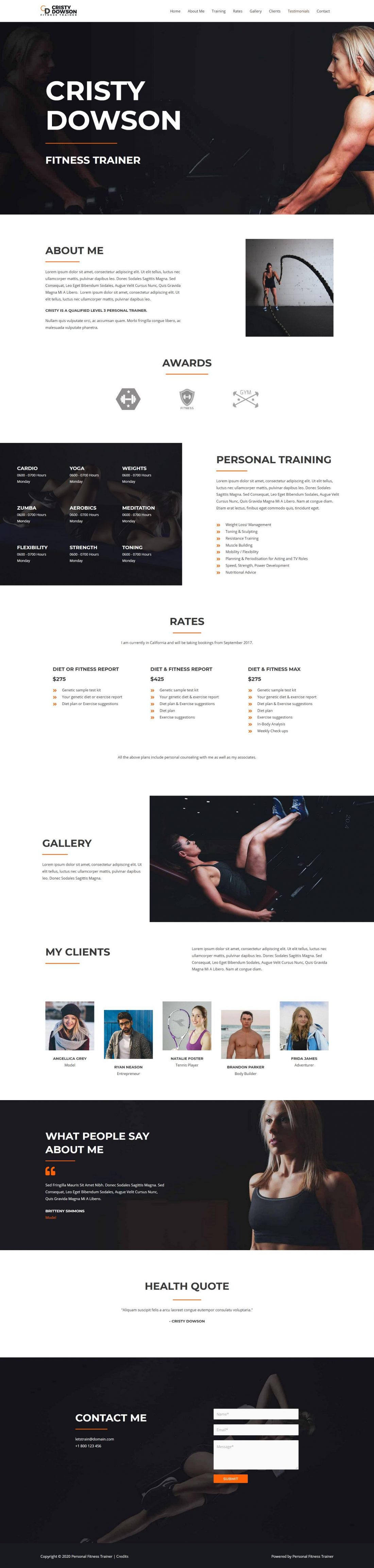 Fagowi.com Website Design Templates For Personal Trainer Female - Home Page Image
