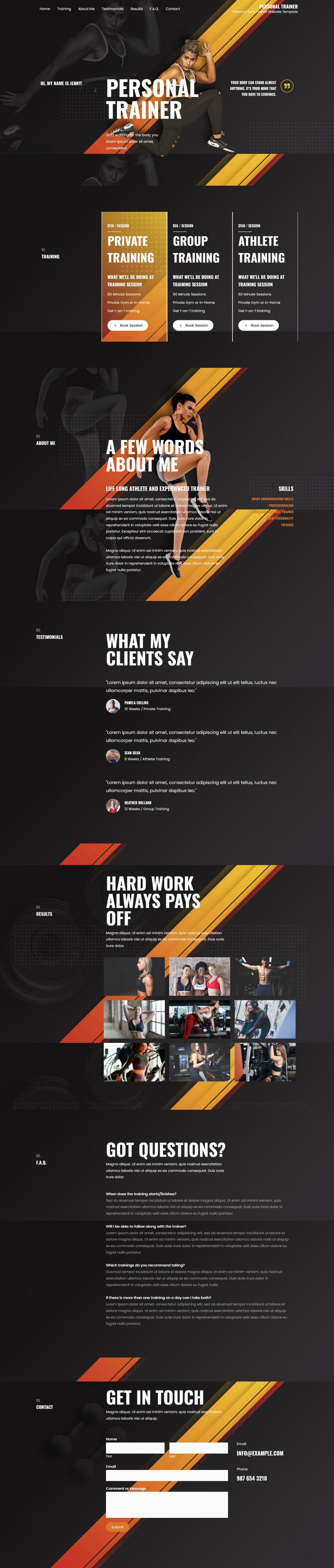 Fagowi.com Website Design Templates For Personal Trainer Female 2 - Home Page Image