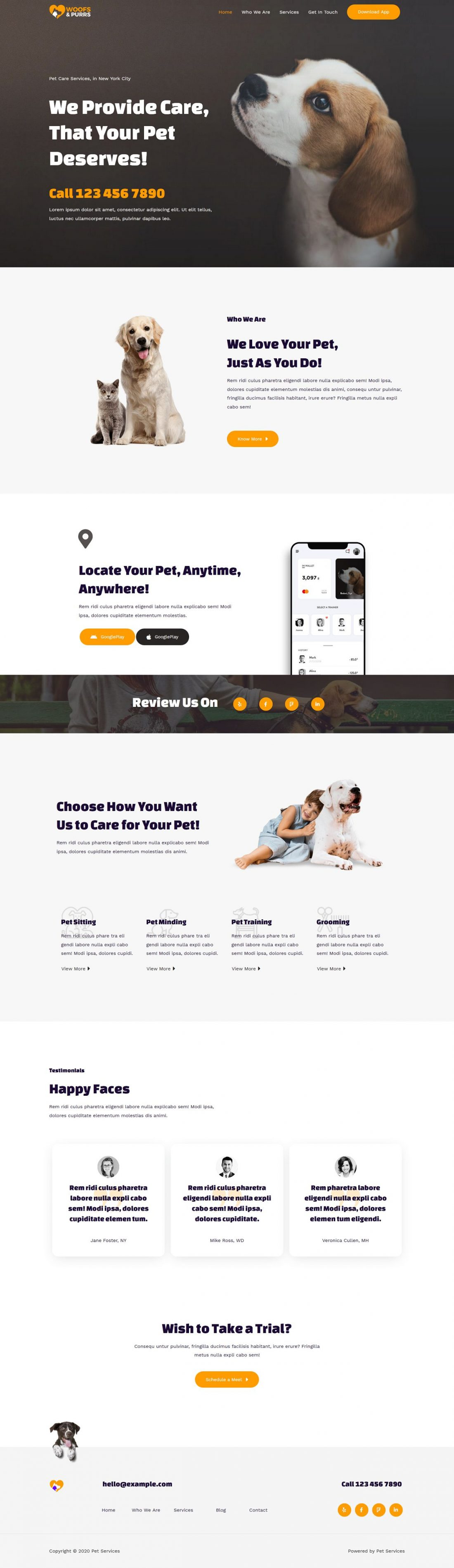 Fagowi.com Website Design Templates For Pet Sitting Services - Home Page Image