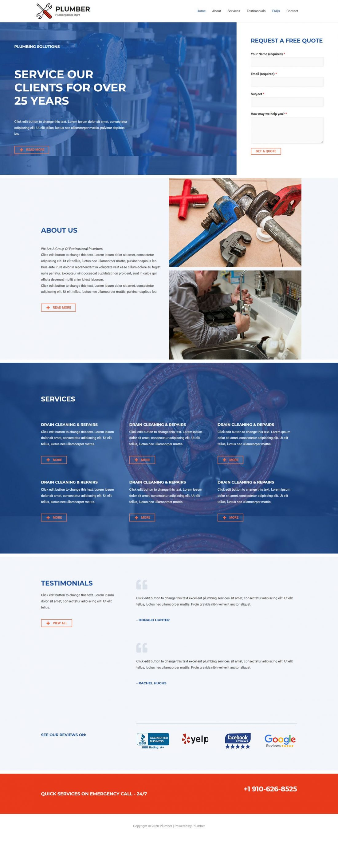 Fagowi.com Website Design Templates For Plumber - Home Page Image