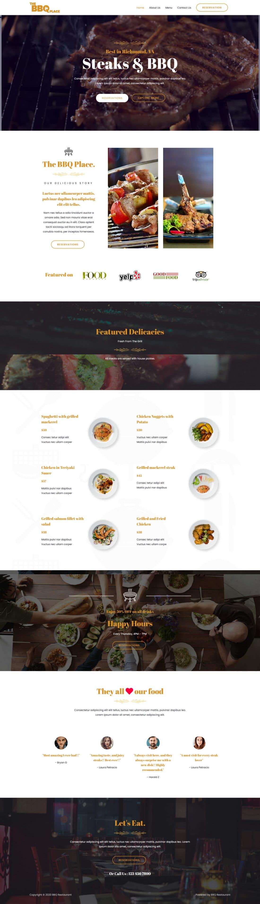 Fagowi.com Website Design Templates For Restaurant Steak BBQ - Home Page Image