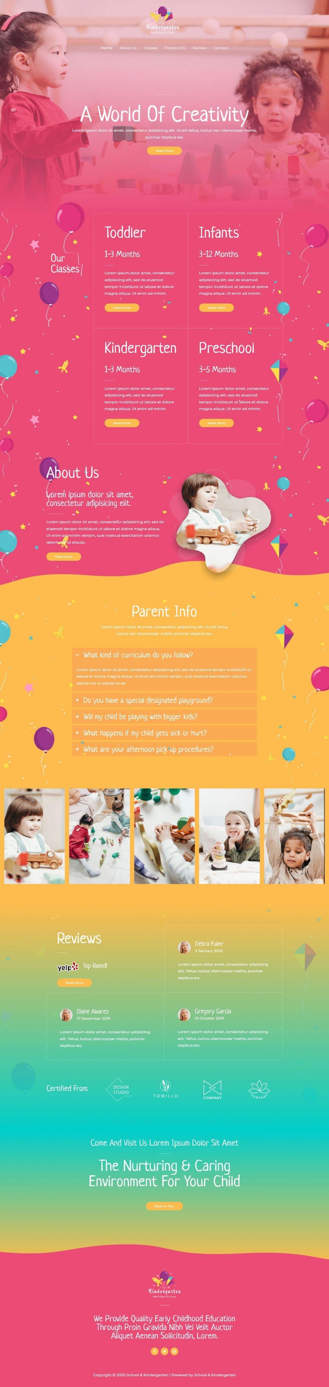 Fagowi.com Website Design Templates For Kindergarten PreSchool - Home Page Image