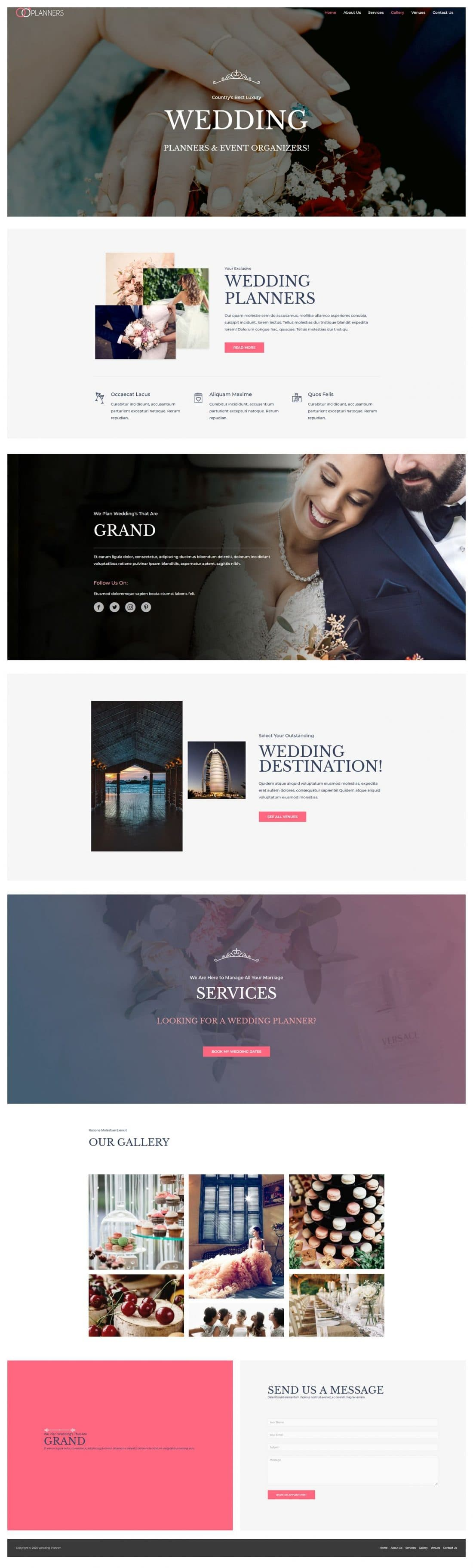 Fagowi.com Website Design Templates For Wedding Planner - Home Page Image