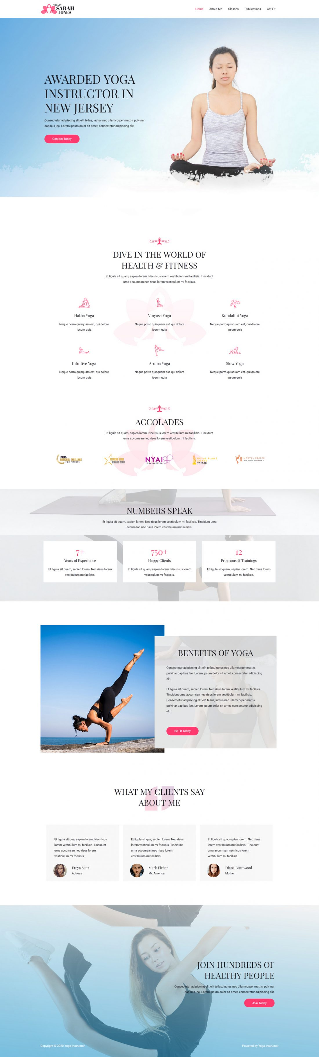 Fagowi.com Website Design Templates For Yoga Instructor - Home Page Image
