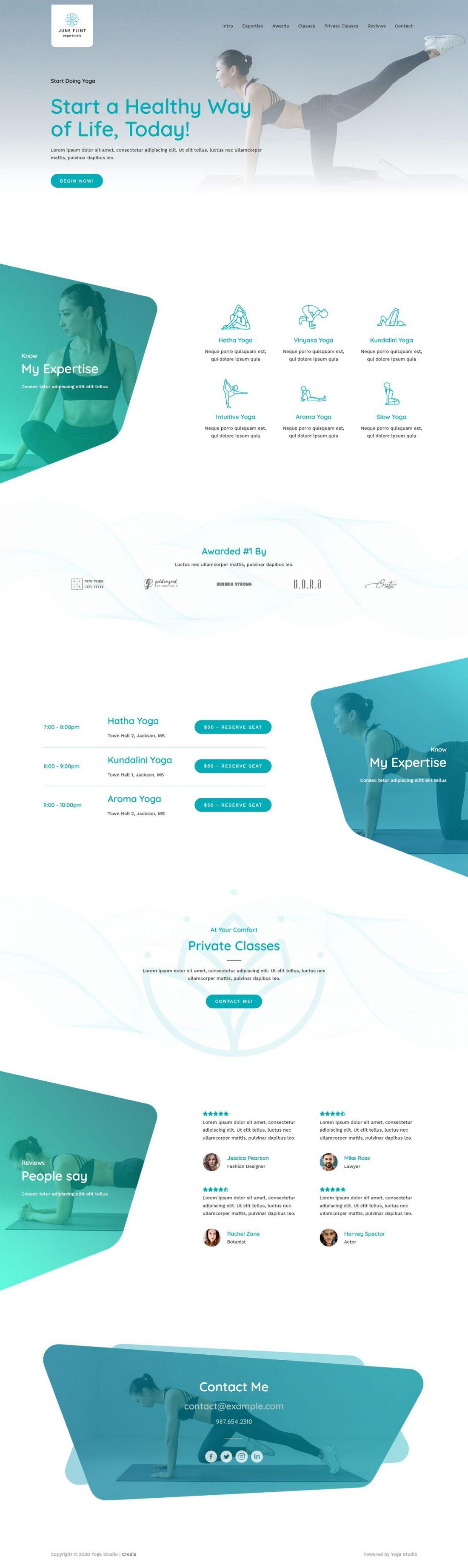 Fagowi.com Website Design Templates For Yoga Studio - Home Page Image