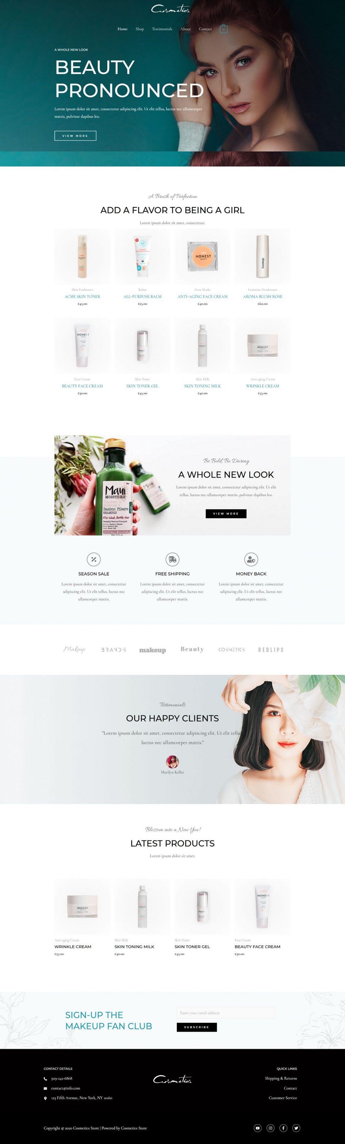 Fagowi.com Website Design Templates For eCom Cosmetics Online Shop - Home Page Image