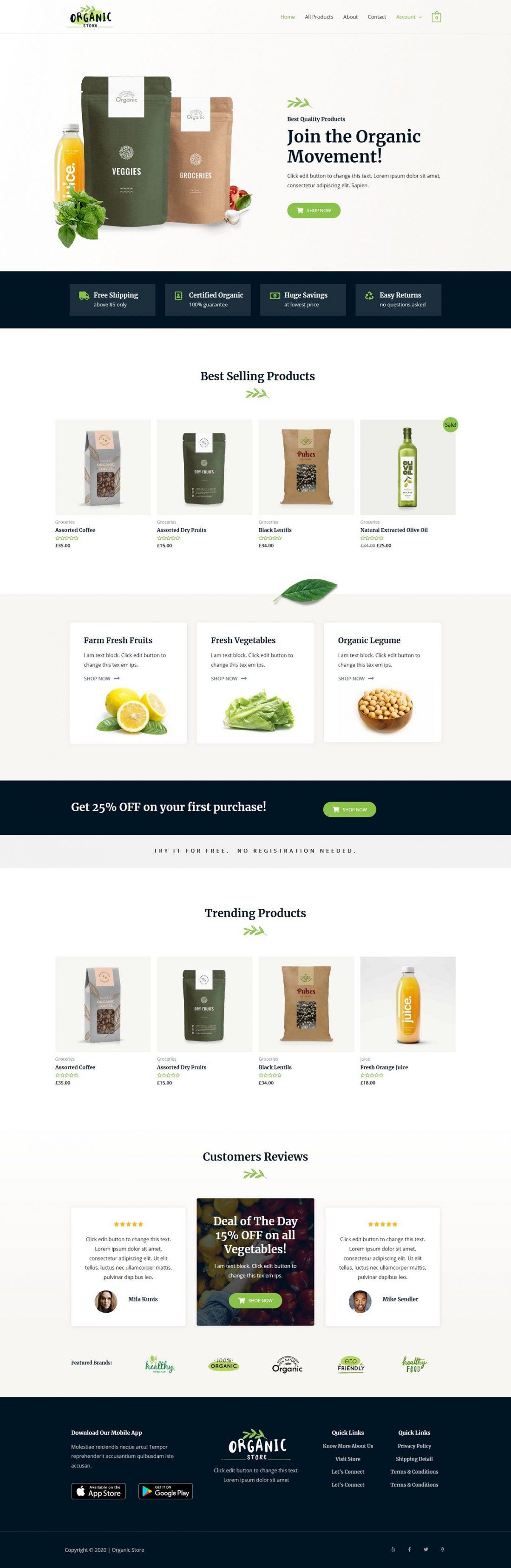 Fagowi.com Website Design Templates For Organic Online Shop - Home Page Image