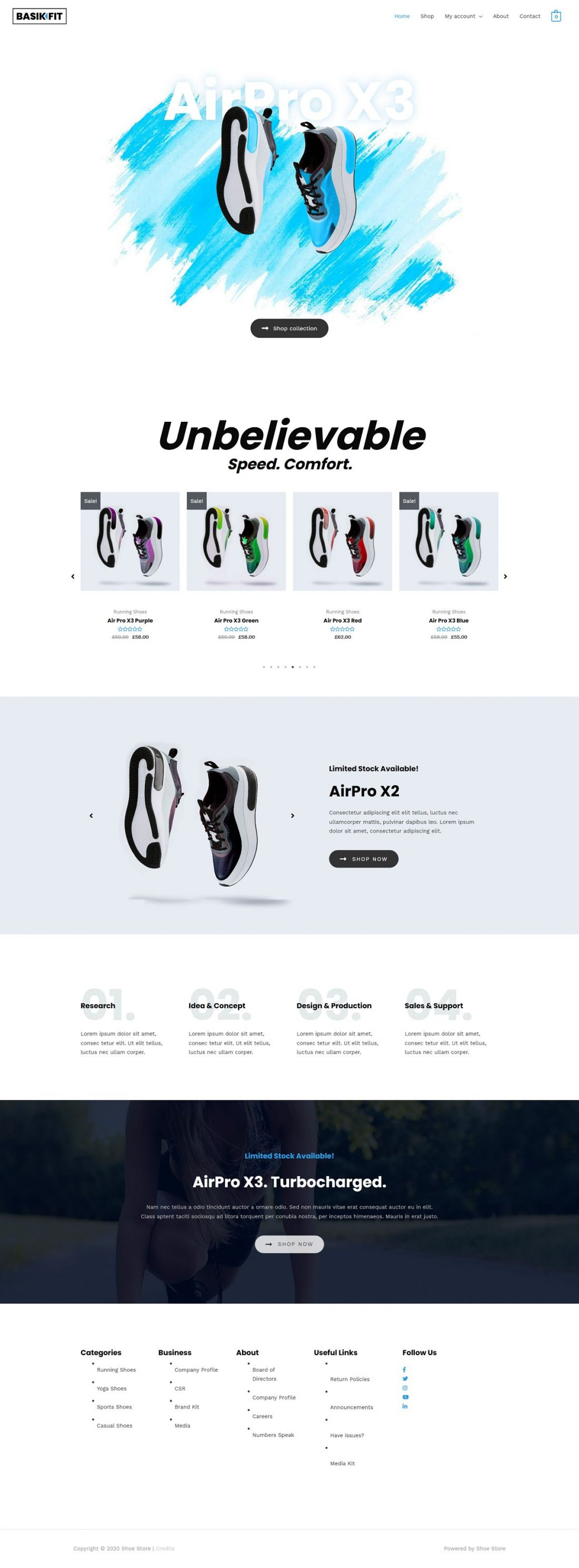 Fagowi.com Website Design Templates For Trainers Shoes Online Shop - Home Page Image