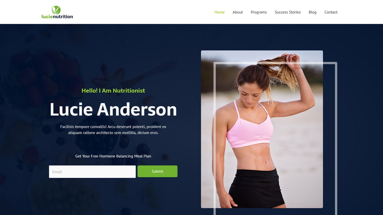 Nutritionist - Female Weight Loss Coach - Home Page 1280 x 720