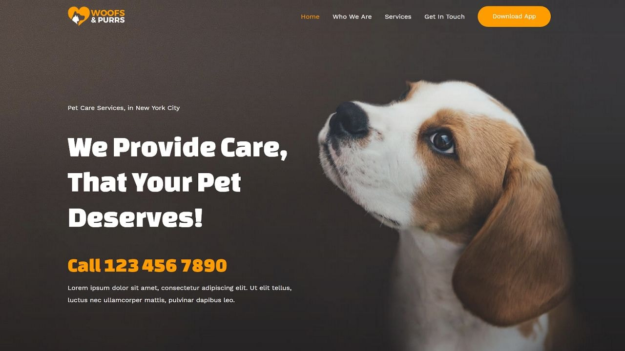 Pet Services Sitting - Home Page 1280 x 720