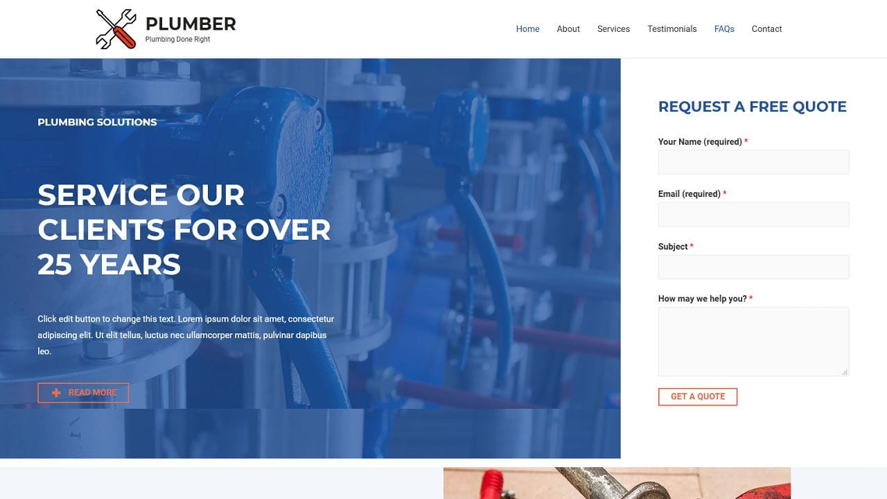 Plumber - Home Page 1280 x 720