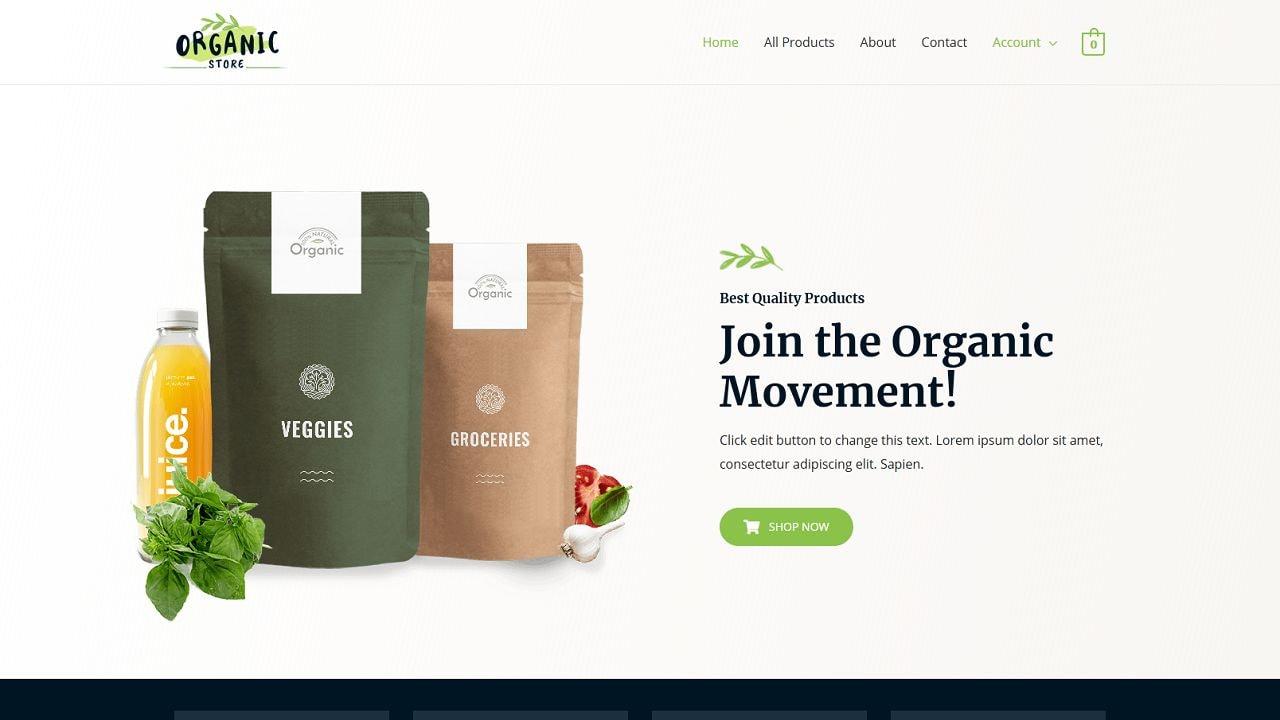 eCom Organic Shop - Multipurpose - Home Page 1280 x 720