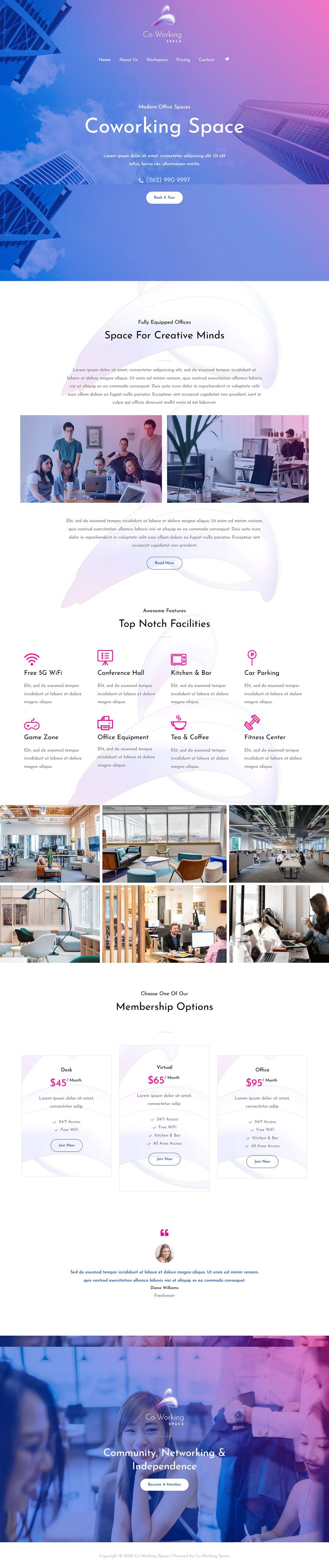 Co-Working Spaces A Home Page 1280 x 5244