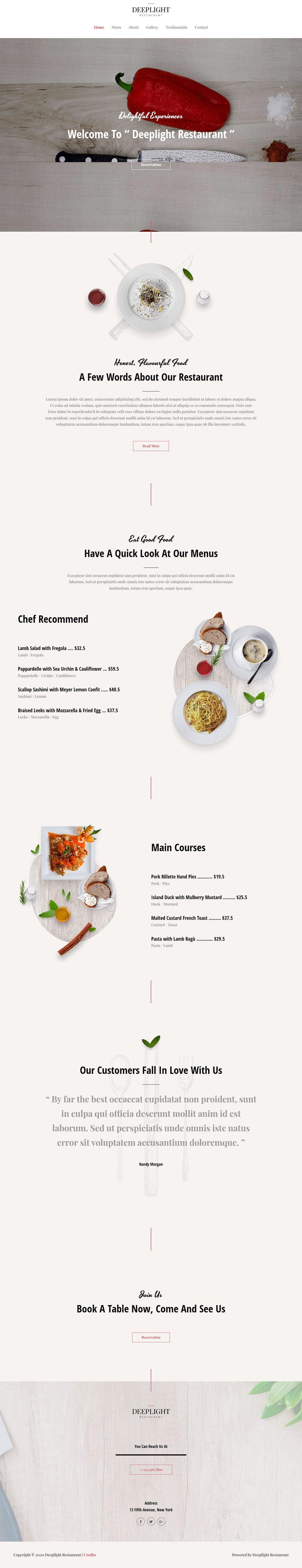 Restaurant - Deeplight - Home Page 1280 x 5705