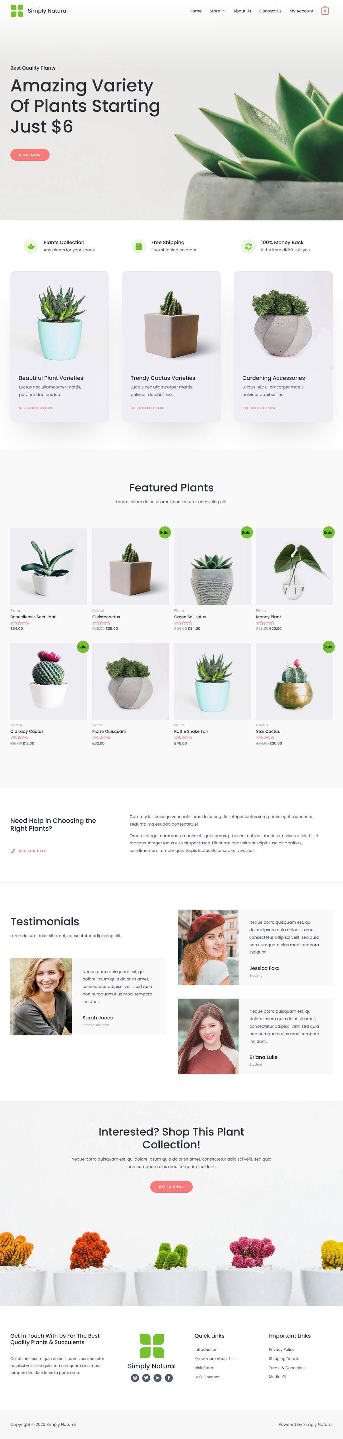 eCom Simply Natural Plant Shop - Multipurpose - Home Page 1280 x 4610